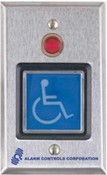 Alarm Controls TS52 2in SQ. Blue Illuminated Pushbutton, 2 WS.P.D.T.10 A. Contacts, With 1/2 in Red Led, Handicapped Symbol,S.G. S.S. Plate