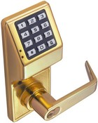 Alarm Lock DL2700-3 Battery Operated Trilogy Pushbutton Lock, Brass Finish