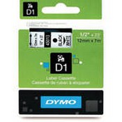Dymo 45013 Standard D1 Labels (Black Print, White Tape - 1/2