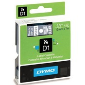 DYMO 45020 Standard D1 Labels (White Print, Clear Tape - 1/2