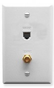 ICC ICRDSVF0WH RJ-11 6P6C and F-Type Integrated Wall Plate, White
