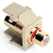 Leviton Manufacturing 40830BIR Rca Plate Insert  Ivory/Red