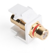 Leviton 40830-BWR QuickPort RCA, Gold-Plated Connector with Red Stripe, White