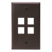Leviton Manufacturing 410804BP 4 Port Faceplate Brown