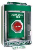 Safety Technology SS-2181EX Stopper Station, Green, with Key to Reset, Mini Stopper II Cover with Spacer, Labeled Emergency Exit