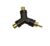 Steren 251-113 Y Adapter 2 RCA Female Jacks to 1 RCA Male Plug Gold Plated Audio