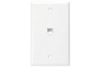 Leviton 40249-W Standard Telephone Wall Jack, 6P4C, Screw