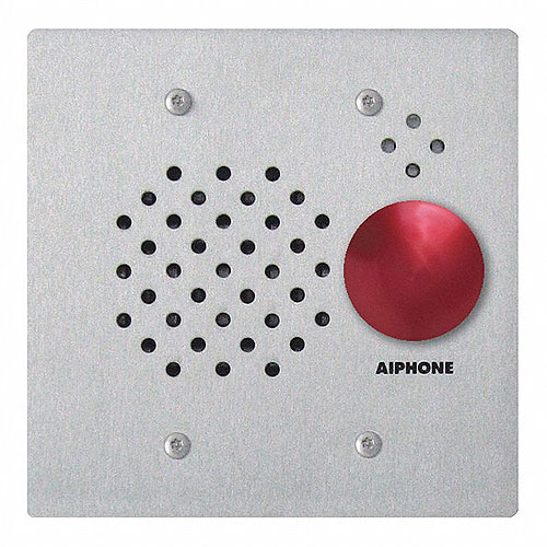 Aiphone 2-Gang Door Station With With Red Mushroom Button, Flush Mount, Stainles