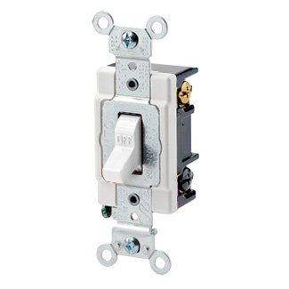 Leviton 1223-SW   20 Amp, 120/277 Volt, Toggle 3-Way AC Quiet Switch, Heavy Duty Spec Grade, Grounding, Back & Side Wired - WHITE