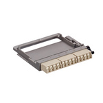 Leviton 5FUHD-SIL   HDX Fiber Adapter Plate,OM1 Quad LC shuttered (beige), 12 fibers, Phosphor Bronze Sleeve