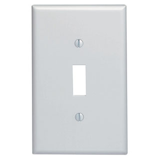 Leviton 80501-W | 1-Gang Toggle Device Switch Wallplate, Midway Size, Thermoset, Device Mount - White
