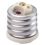 Leviton 8681 | Mogul-Medium Base, One-Piece, Adapters and Extensions, Incandescent, Glazed Porcelain Lampholder, , To Be Used in Porcelain Sockets Only - White