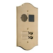 Comelit 3201-R Roma Series Brass Video Entrance Panel with 1 Push-Button, Preset for Powercom Audio/Video Module