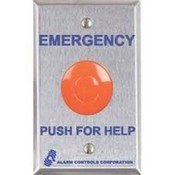 "Alarm Controls PBL-1 Alarm Controls Large 1½"" Red Mushroom Button Mounted On SGSS Plate ""Emergency Push For Help"""
