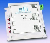 American Fibertek N-111 Network I/O Module RS Data Channel, Alarm Input, Relay Output, 10/100 Base-T Port