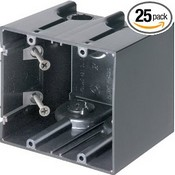 Arlington Industries F102 2-Gang Vertical Outlet Side Mount Box