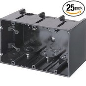 Arlington Industries F103 3-Gang Vertical Outlet Side Mount Box, 25-Pack