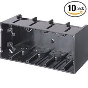Arlington Industries F104 4-Gang Vertical Outlet Side Mount Box, 10-Pack