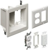 Arlington Industries TVBR505K 1 Recessed Outlet Box Kit with Outlet and Plate Paintable, 2-Gang, White