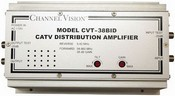 Channel Vision CVT-38BID 38dB Bi-directional RF Amplifier, Boosts TV signal an impressive 38dB; Perfect for large residential or commercial applications