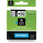 Dymo 43613 Standard D1 Labels (Black Print, White Tape - 1/4
