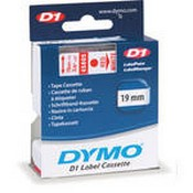 Dymo 45805 Standard D1 Labels (Red Print, White Tape - 3/4