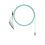 Panduit QuickNet PanMPO FZTRP8NUGSNF048 12-Fiber OM4 Multi-Mode Round Harness Cable Assembly, PanMPO Male End A, LC Uniboot End B, 48 ft L, Plenum (OFNP), Aqua