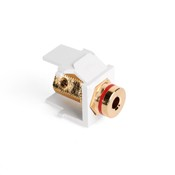 Leviton Manufacturing 40837BWR Banana Jack Adapter, Gold-Plated with Red Stripe, Color White
