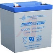 Powersonic PS-1250-F1 12 VDC; Lead Acid; 5; Rechargeable; 12; 3.54 In. L x 2.76 In. W x 3.9