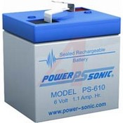 Powersonic PS-610 6 VDC; Lead Acid; 1.1; Rechargeable; 6 VDC; 0.6 lbs.; -40 degC; 60 de