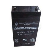 Powersonic PS-632 6V/3.5AH Sealed Lead Acid Battery w/ F1 Terminal for Power-Sonic PS-632 Battery