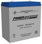Powersonic PS-6360 6 Volt 36.0 Amp. Hrs. Sealed Led Acid Battery
