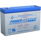 Powersonic PS-670 6 VDC; Lead Acid; 7; Rechargeable; 6 VDC; 2.8 lbs.; -40 degC; 60 degC