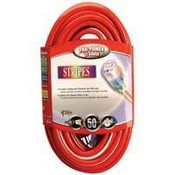 Coleman Cable 25488841 Red/ White Stripes Lighted-End Cord Outdoor - Nema 5-15 - Each