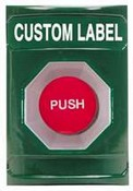 Safety Technology SS-2104 Stopper Station, Green, Momentary Mushroom - Custom label