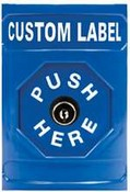 Safety Technology SS-2400 Stopper Station, Blue, Key in Octagonal Button - Custom Label
