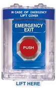 Safety Technology SS-2441EX Stopper Station, Blue, Turn to Reset, with Mini Stopper II Cover with Horn, Labeled Emergency Exit