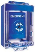 Safety Technology SS-2480E Stopper Station, Blue, Key to Reset, with Mini Stopper II Cover with Spacer, Labeled Emergency