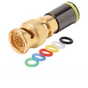 Steren 200-086 RG-6 BNC Compression Connector with 6 Color Bands Permaseal II Gold Plate Coaxial Cable Snap-On Line Plug Adapter, RF Digital Audio Video RG6 Component Connection