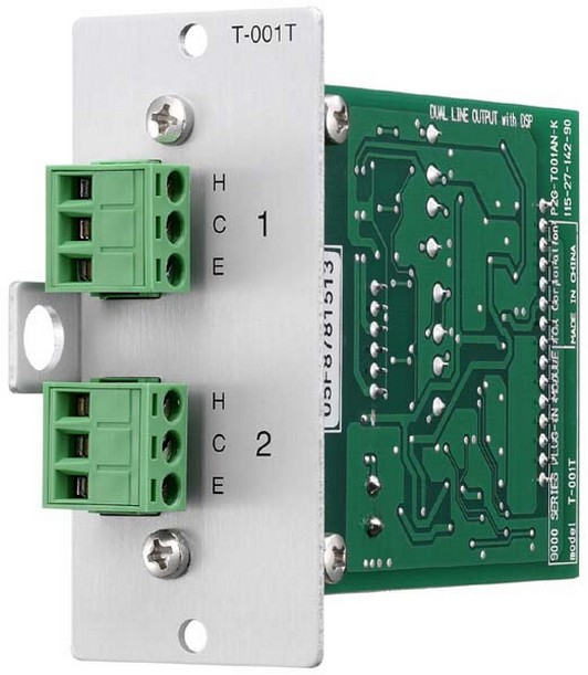TOA Electronics T-001T Dual Line Output Module with DSP (Removable Terminal Block)