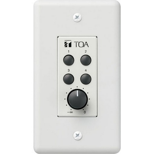 TOA Electronics ZM-9002 - 4-Switch Remote Wall Panel with Volume Knob for 9000 Series