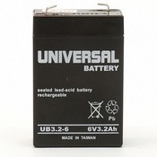 Universal Power Group UB632 6 Volt 3.2 Ah Sealed Lead Acid (AGM) Battery