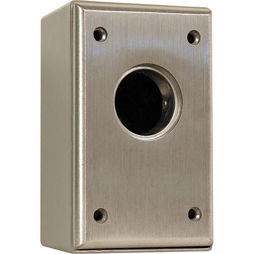 Camden Door Controls CM-1000 | Surface Mount Key Switch, Aluminum Faceplate, SPST Momentary, N/O, Brushed Aluminum