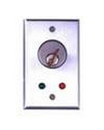 Camden Door Controls CM-1080-7224 | Surface Mount Key Switch, DPDT Momentary, Red & Green 24V LEDs, Brushed Aluminum