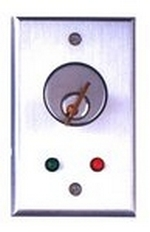 Camden Door Controls CM-1150-7212 | Flush Mount Key Switch, Single Gang, 2 SPDT Momentary, Red & Green 12V LEDs, Brushed Aluminum