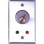 Camden Door Controls CM-1180 | Flush Mount Key Switch, Single Gang, DPDT Momentary, Brushed Aluminum