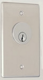 Camden Door Controls CM-1210-7012 | Key Switch, Stainless Steel, Flush Mount, Single Gang, SPST Maintained, Red 12V LED