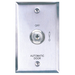 Camden Door Controls CM-180/21 | Automatic Operator Control Key Switch, Single-Gang Stainless Steel Faceplate, 2 Position Switch, Maintained, Off/Auto