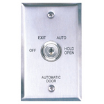 Camden Door Controls CM-180/22 | Automatic Operator Control Key Switch, Single-Gang Stainless Steel Faceplate, 3 Position Switch, Maintained, Off/Auto/Hold Open