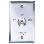 Camden Door Controls CM-180/23 | Automatic Operator Control Key Switch, Single-Gang Stainless Steel Faceplate, 3 Position Switch, Maintained, Off/Day/Night
